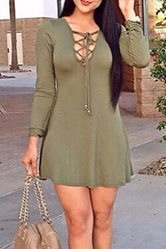 dress green criss cross long sleeves fashion style cute girly sexy short dress casual trendy outfit clothes lace up dress zaful