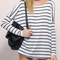Black white long sleeve striped t-shirt -shein(sheinside)
