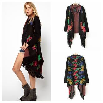 cardigan tassels bottom asymmetrical retro sweater acquard poncho floral