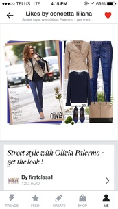 coat,tan jacket collarless,olivia palermo,pants,shirt,shoes,blue pumps