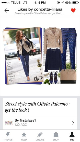 olivia palermo pants shirt coat tan jacket collarless shoes blue pumps