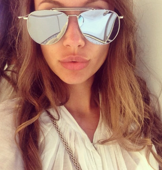 sunglasses mirror silver tom browne beautiful tan summer dress top white black gold grey lips mirrored sunglasses