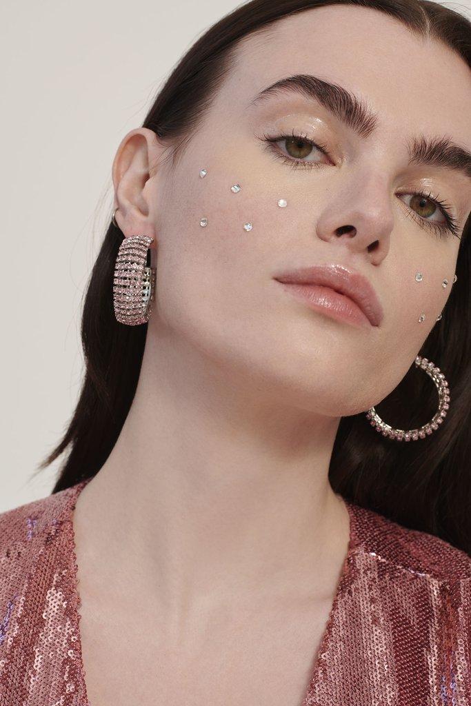 Pink Jupiter Rhinestone Earrings
