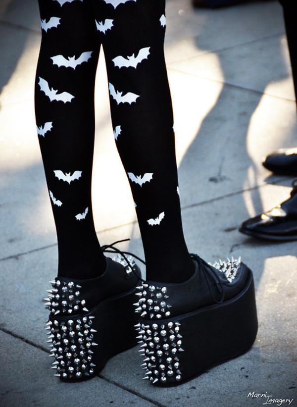 shoes bat bats silver studs black goth tights batman metallic boho halloween
