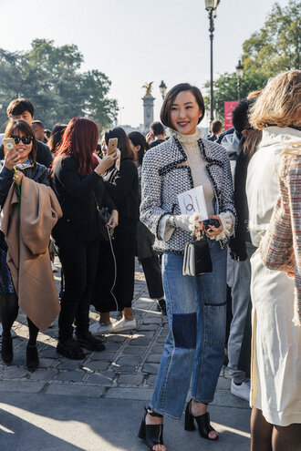 le fashion image blogger jacket top jeans shoes sandals fall outfits sweater