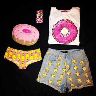 the simpson the simpsons iphone case clutch food panties t-shirt shorts high waisted shorts the simpson's underwear bag phone cover donut