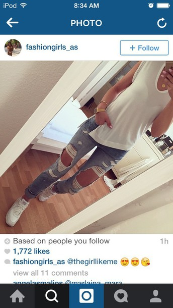 shoes jeans ripped jeans light blue jeans high waisted jeans cotton shirt