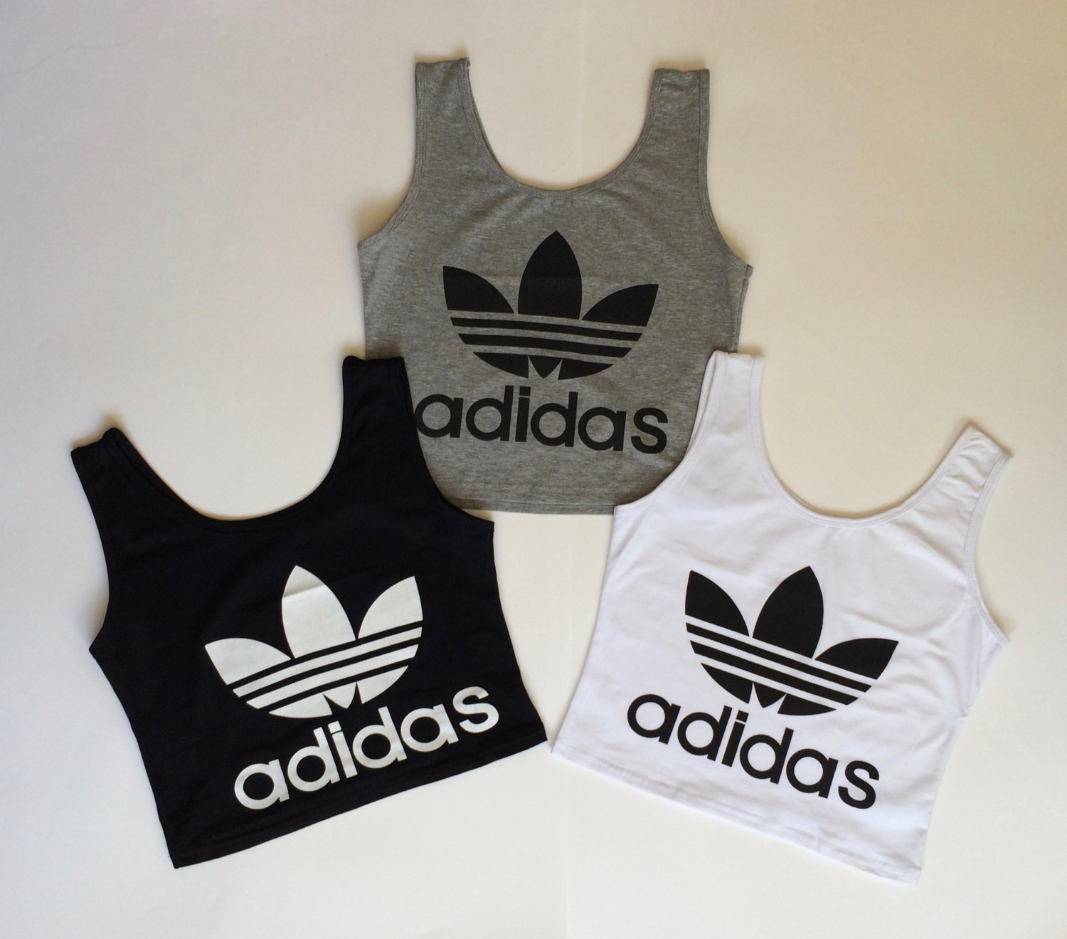 adidas reworked crop top vest cami tank halter neck camisole bra bikini festival boho bralette sports grey white black shorts co ord set