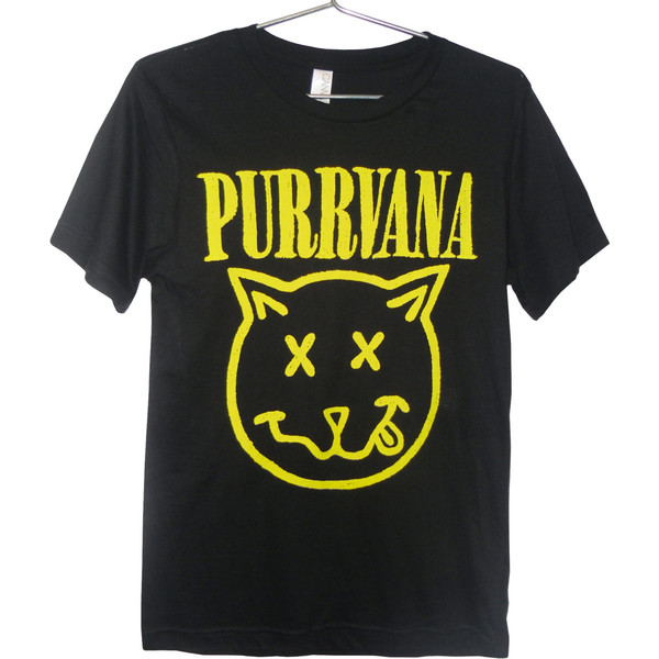 Purrvana Cat T-shirt - Nirvana parody, Kittens, Cats, Drippy... - Polyvore