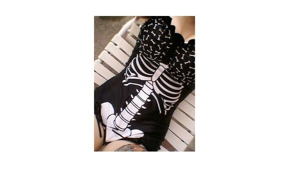 swimwear skeleton swimwear bones goth