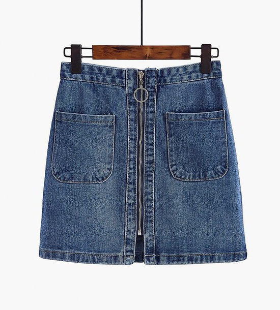 skirt girly blue denim denim skirt zip zipped skirt