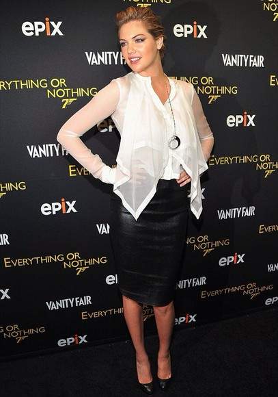 black blouse kate upton beautiful skirt white leather gorgeous