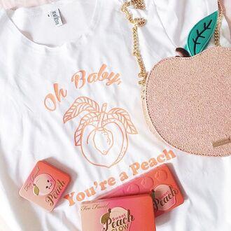 t-shirt yeah bunny peach peaches pastel fruits summer