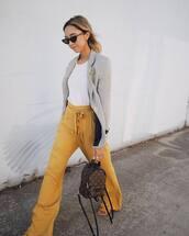 pants,tumblr,yellow,yellow pants,wide-leg pants,t-shirt,white t-shirt,blazer,grey blazer,backpack,mini backpack,sunglasses