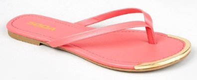 Amazon.com: Soda UNION Metallic Gold Tip Slip On Flip Flop Thong Flat Sandal: Shoes
