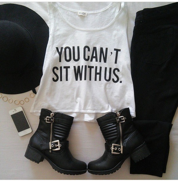 hat black hat big hat black ankle boots tank top nail accessories