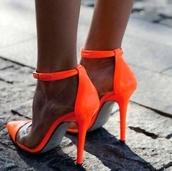 shoes,neon,orange,coral,neon heels,fluro orange