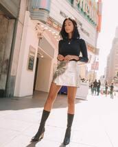 skirt,mini skirt,metallic,high waisted skirt,boots,high heels boots,black blouse