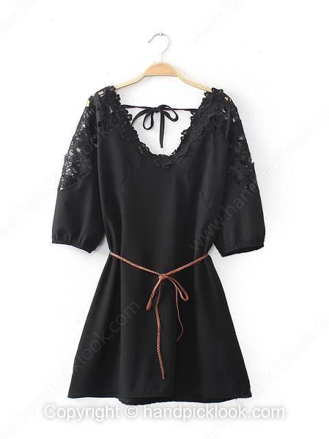 Black V-neck Half Sleeve Belt Lace Dress - HandpickLook.com