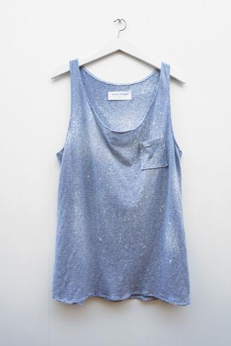 blue tank top tank top t-shirt debardeur blue pockets shirt blue shirt cut off shirt faded cute pocket t-shirt