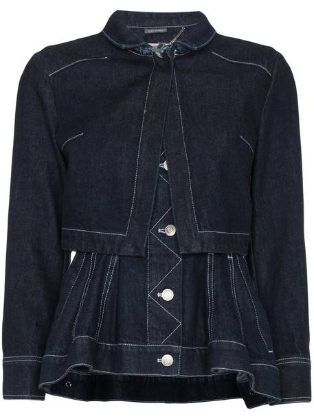 Alexander Mcqueen jacket denim jacket denim women layered cotton blue