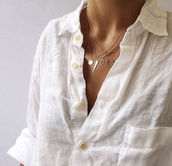 jewels,gold,dainty necklace,moon,shirt,clothes,button down,linen