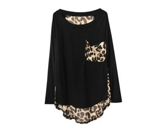 shirt leopard print black top girl pockets animal animal print print solid fall outfits winter outfits long sleeves leopard pocket loose black and leopard long sleeve shirt. t-shirt