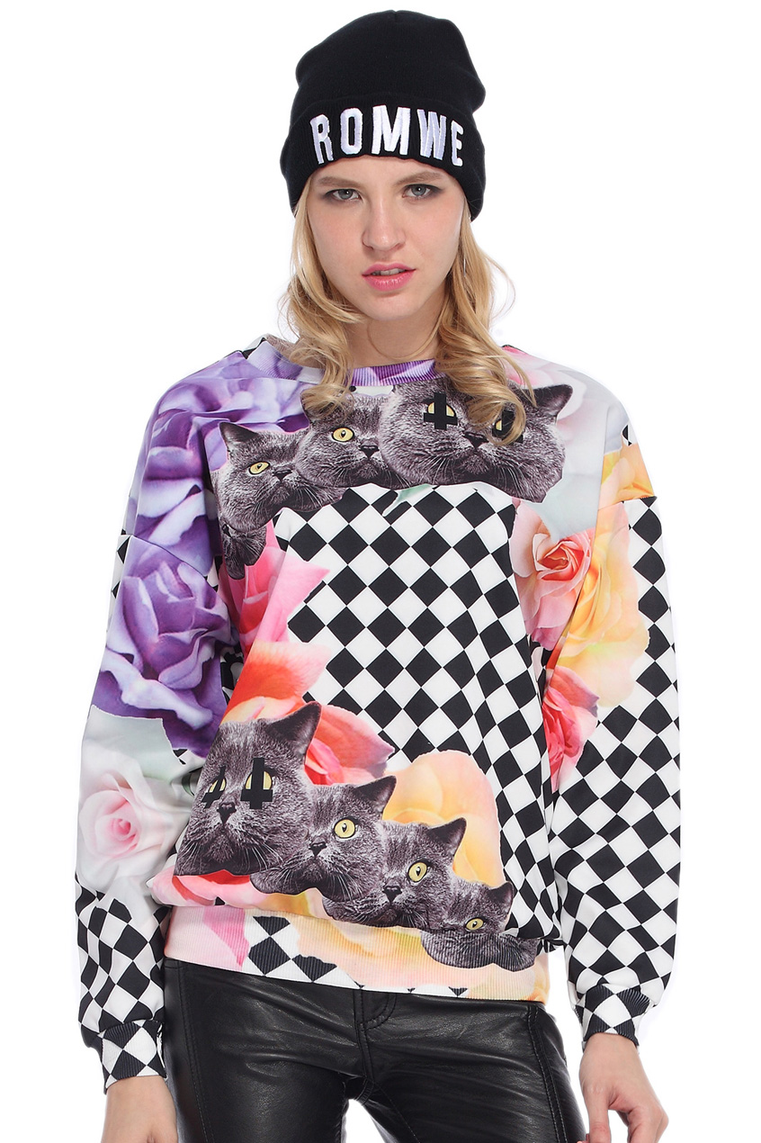 ROMWE | Cats & Roses Print Sweatshirt, The Latest Street Fashion
