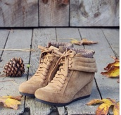 shoes,fall outfits,boots,wedges,wedged boots,soft,lace up,lace up ankle boots,sweater,lace up heels,ankle boots,fashion,style,beige heel sneakers,camel,short winter boot,fall shoes,brown shoes,heels,booties,wedge booties,tan boots,tan booties,cute,beige,suede boots