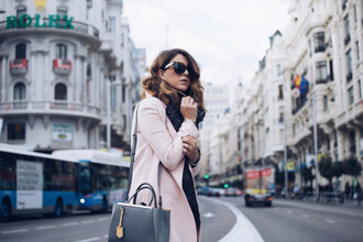jeans jewels baby pink blogger scarf coat bag sunglasses scent of obsession
