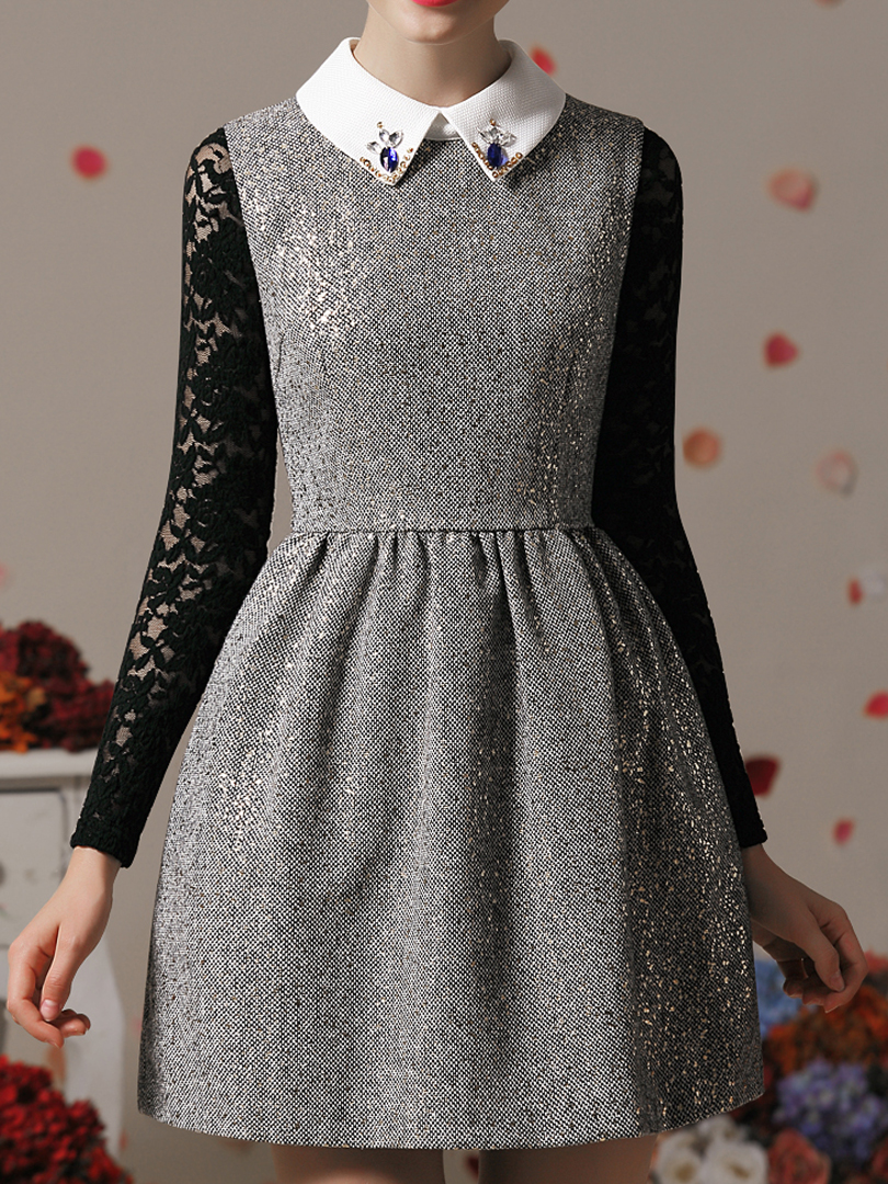 Metallic Dot Dress with Bead Shirt Collar - Choies.com