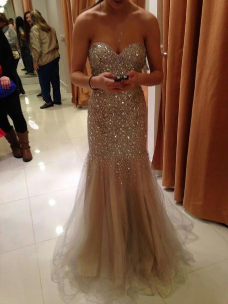 Dress Prom Dress Prom Sparkly Dress Nude Long Sress Full Dress Glitter Sparkle Gold
