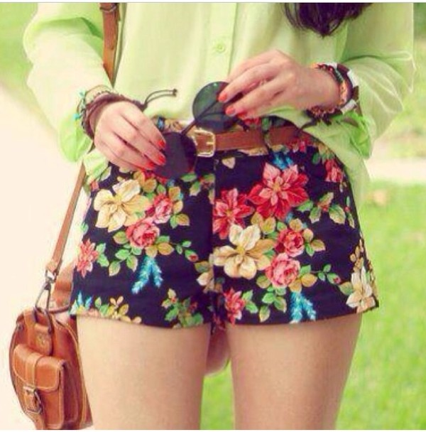 shorts lime floral sunglasses skirt High waisted shorts spring tumblr hipster