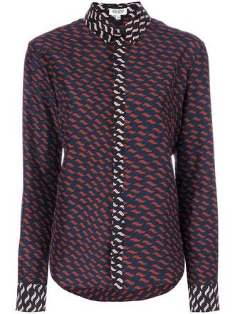 shirt women print blue silk top
