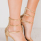 Chrissie gold three strap heels