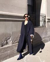 coat,tumblr,blue coat,long coat,sunglasses,pants,black pants,boots,blue boots,oversized,oversized coat