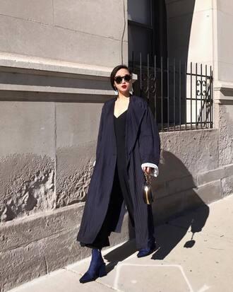 coat tumblr blue coat long coat sunglasses pants black pants boots blue boots oversized oversized coat