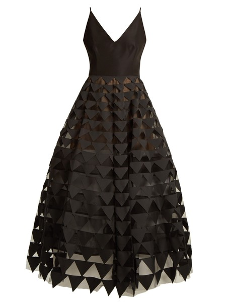 oscar de la renta gown triangle silk black dress