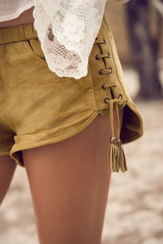 shorts bohemina brown tan smooth cute boho lace up