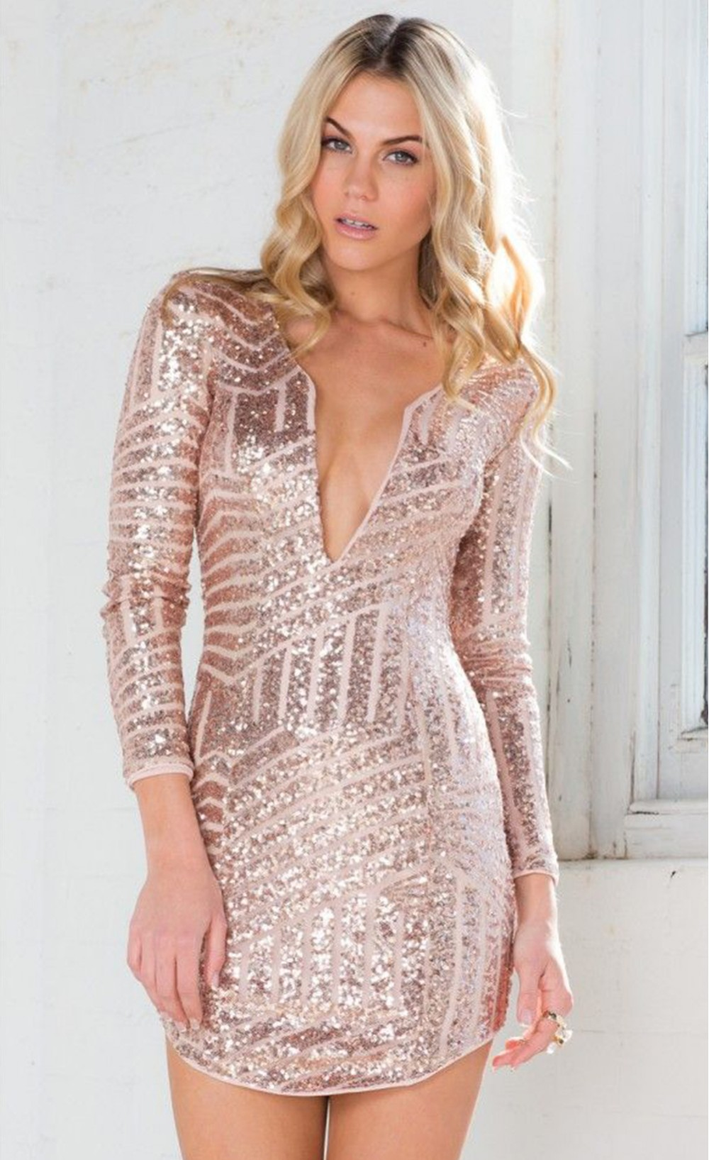Gold Long Sleeve Sequin Mini Dress - Stella La Moda