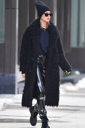 pants,fur coat,faux fur,faux fur coat,hailey baldwin,model off-duty,vinyl,all black everything,fall outfits