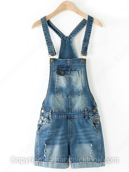 Blue Straps Sleeveless Bleached Ripped Denim Flange Jumpsuit - HandpickLook.com