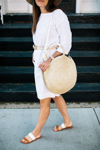 dress tumblr midi dress white dress long sleeves long sleeve dress round tote tote bag sandals flat sandals belt shoes bag