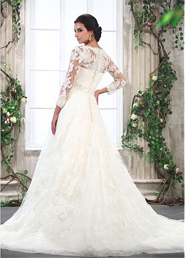 Buy discount brilliant lace a line v neck 3/4 long sleeves beaded wedding gown at dressilyme.com