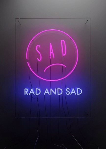 Bag Neon Light Neon Light Home Accessory Home Decor Lighting Lamp Emoji Print Rad Sad