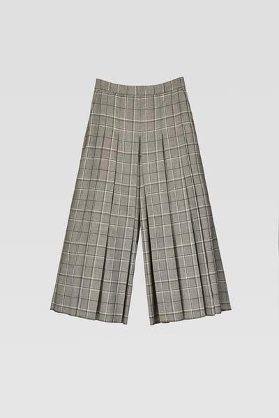 PLAID PLEATED PANTS
