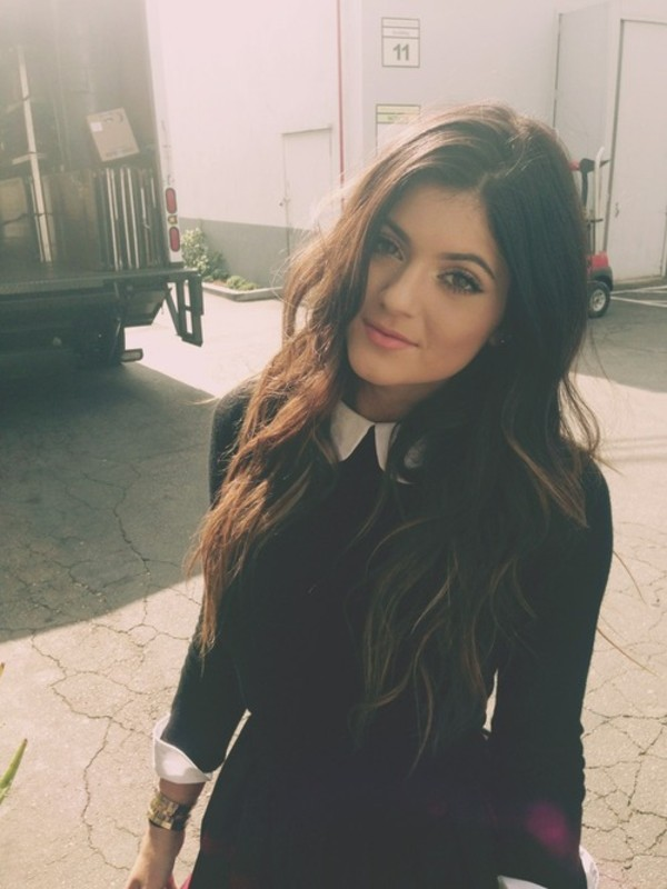 dress black kylie jenner kardashians tumblr peter pan collar back to school shirt