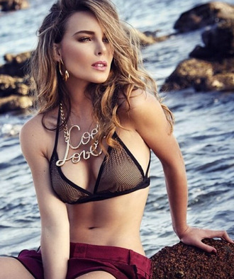 swimwear jewels top fishnet bikini love necklace cool necklace gold chain necklace statement necklace statement jewelry style blogger fashion week 2014 celeb style
