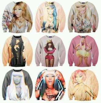sweater nicki minaj printed sweater blouse cotton nicki minaj collection nicki minaj crew neck