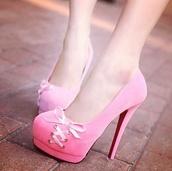 shoes,pink,high heels,cute,platform high heels,bows,ribbon,pink ribbon laced heels